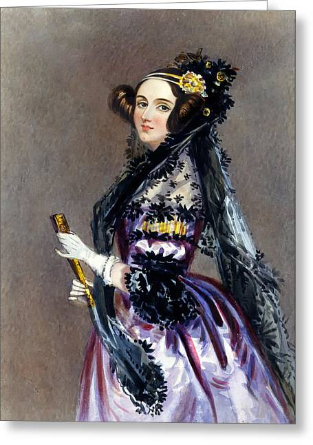 Portaits Greeting Cards - Ada Lovelace Greeting Card by Alfred Chalon