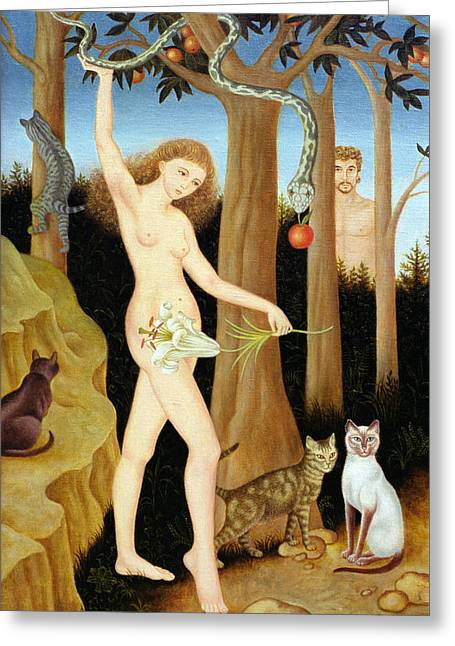 Apple Paintings Greeting Cards - Adam & Eve, 1990 Greeting Card by Patricia O