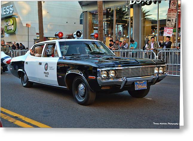 Police Cruiser Greeting Cards - Adam 12 Greeting Card by Tommy Anderson