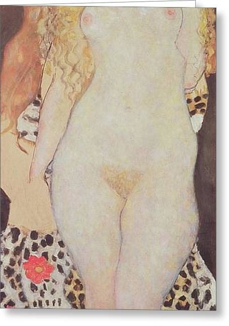 Leopard Skin Greeting Cards - Adam And Eve, 1917-18 Greeting Card by Gustav Klimt