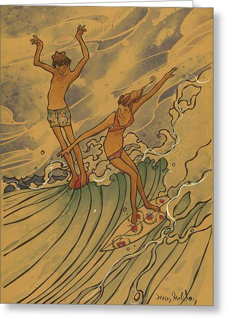 Surfing Art Greeting Cards - Adam and Eve 2 Greeting Card by Harry Holiday