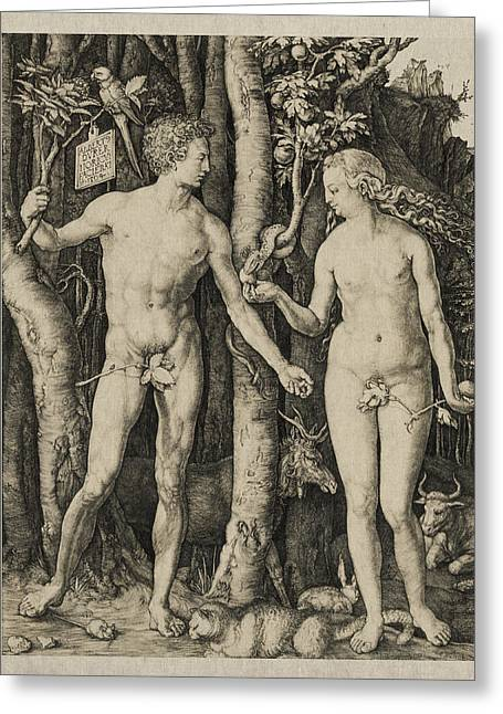 Sacred Digital Art Greeting Cards - Adam and Eve Greeting Card by Aged Pixel