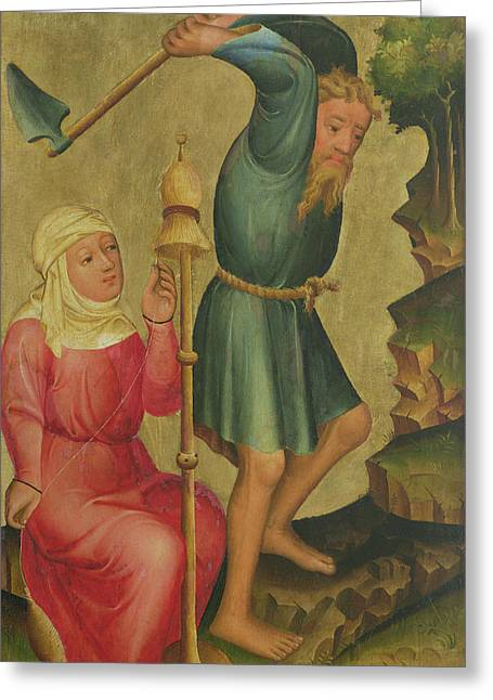 Distaff Greeting Cards - Adam And Eve At Work, Detail From The Grabow Altarpiece, 1379-83 Tempera On Panel Greeting Card by Master Bertram of Minden