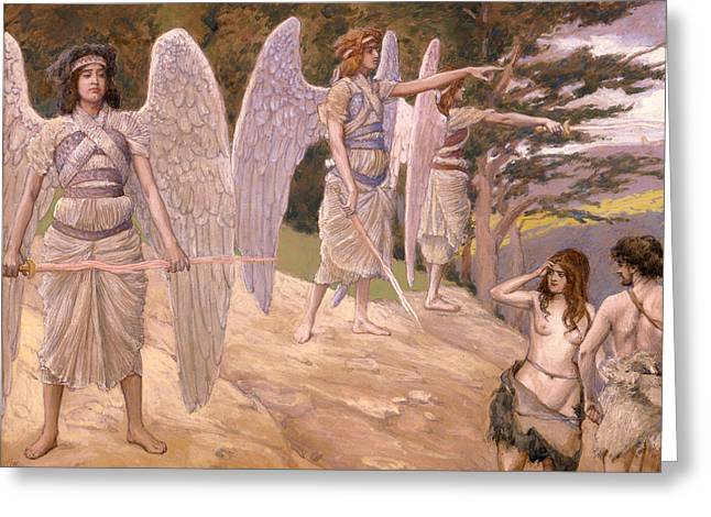 Religious Artwork Paintings Greeting Cards - Adam and Eve Driven from Paradise Greeting Card by James Tissot