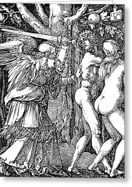 Archangel Drawings Greeting Cards - Adam and Eve Etching by Albrecht Durer Greeting Card by