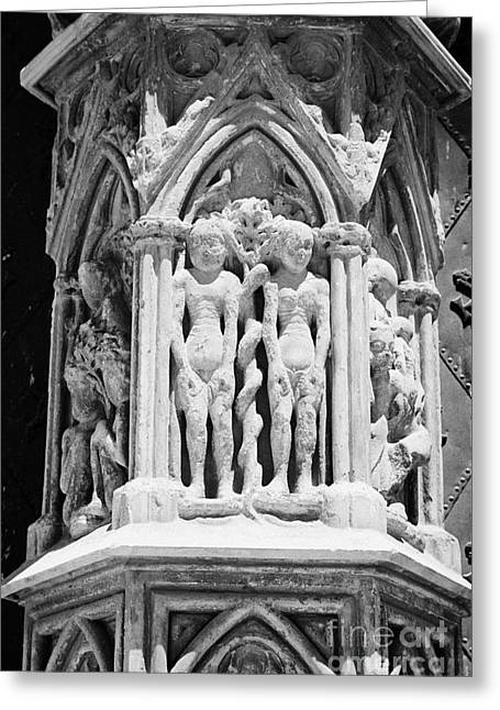 Catalunya Greeting Cards - Adam And Eve Gate Decoration On Tarragona Cathedral Catalonia Spain Greeting Card by Joe Fox