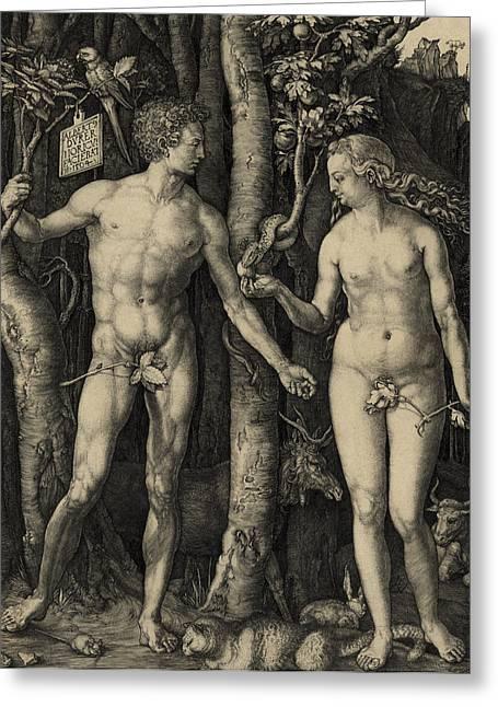 Forbidden Fruit Greeting Cards - ADAM and EVE in the GARDEN of EDEN - ALBRECHT DURER 1504 Greeting Card by Daniel Hagerman