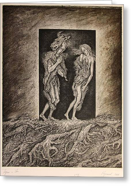 Adam And Eve Greeting Card by Leonid Stroganov