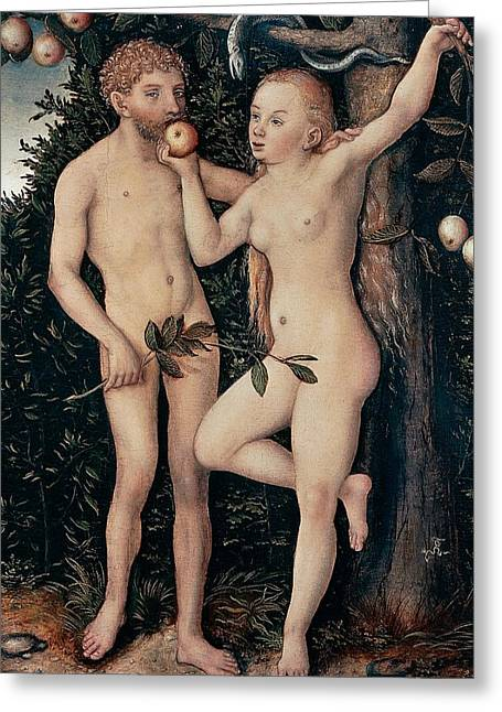 Distinguished Greeting Cards - Adam and Eve Greeting Card by Lucas Cranach Elder