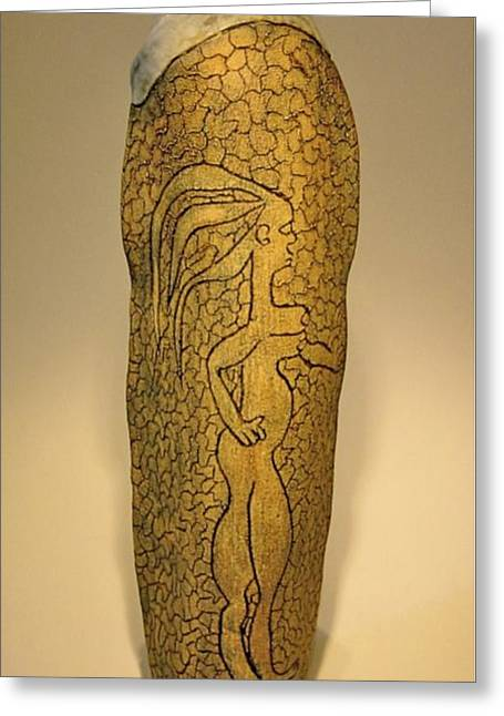 Engraving Ceramics Greeting Cards - Adam and Eve Greeting Card by Mario Perron
