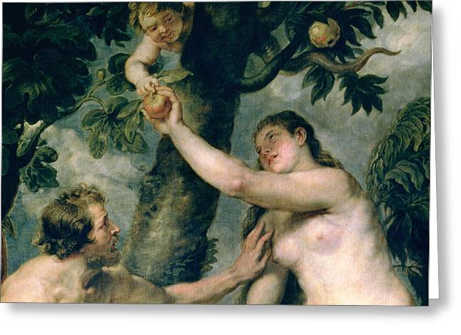 Apple Picking Greeting Cards - Adam and Eve Greeting Card by Rubens
