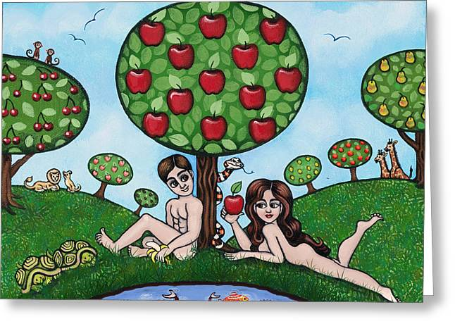 Catholic Art Greeting Cards - Adam and Eve The Naked Truth Greeting Card by Victoria De Almeida