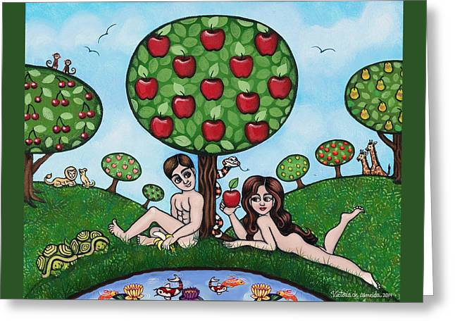 Creationism Greeting Cards - Adam and Eve The Naked Truth Greeting Card by Victoria De Almeida