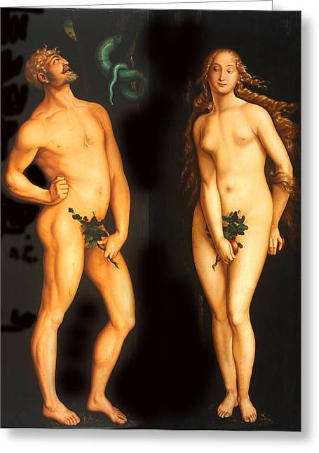 Religious Art Digital Art Greeting Cards - Adam Eve and the Serpent Greeting Card by Hans Baldung