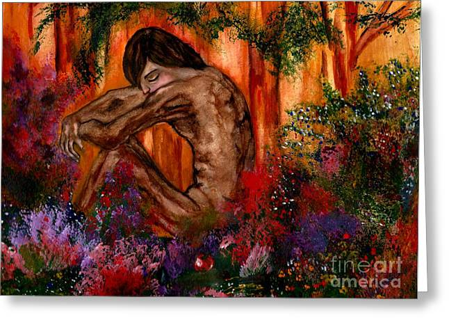 Unforgiven Greeting Cards - Adam in The Garden of Eden Greeting Card by Lori  Lovetere