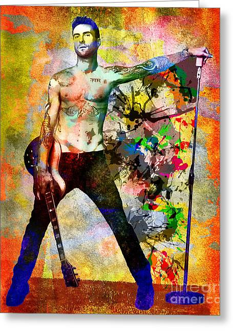 Adam Greeting Cards - Adam Levine - Maroon 5 Greeting Card by Ryan RockChromatic