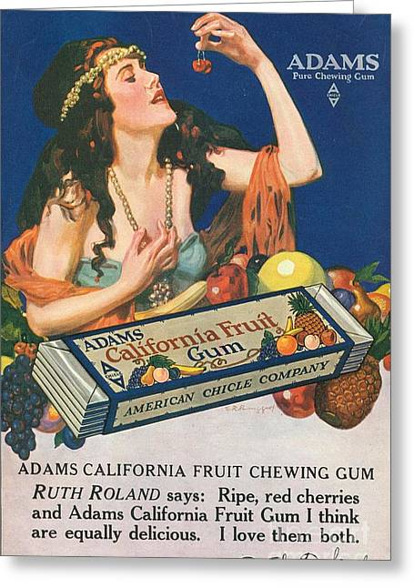 Candy Drawings Greeting Cards - Adams California Fruit Gum 1910s Usa Greeting Card by The Advertising Archives