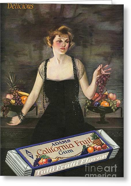 Candy Drawings Greeting Cards - Adams California Fruit Gum 1920s Usa Greeting Card by The Advertising Archives