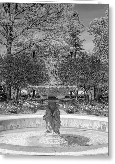 Adam Greeting Cards - Adams Park Fountain Black and White Greeting Card by Christopher Arndt