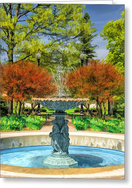 Adam Greeting Cards - Adams Park Fountain Greeting Card by Christopher Arndt