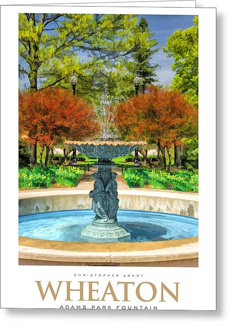 Adam Greeting Cards - Adams Park Fountain Poster Greeting Card by Christopher Arndt