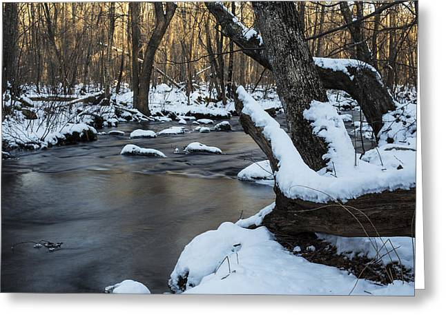New England Winter Scene Greeting Cards - Adamsville Brook Greeting Card by Andrew Pacheco