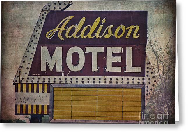 Midwestern Art Greeting Cards - Addison Motel in Chicago Greeting Card by Emily Kay