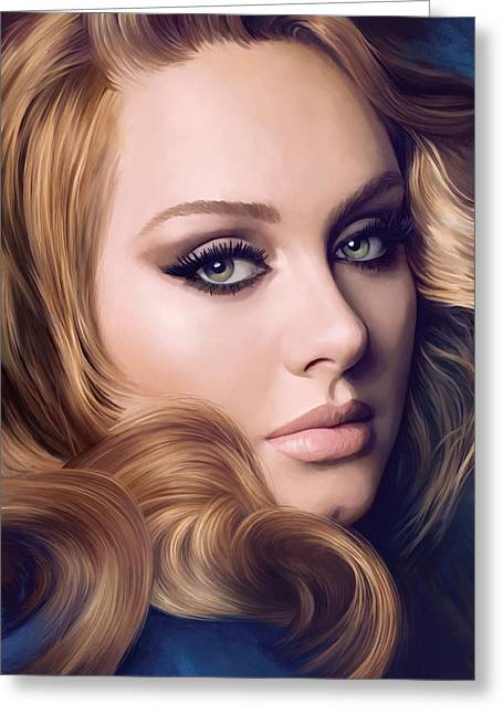 Singer Songwriter Greeting Cards - Adele Artwork  Greeting Card by Sheraz A