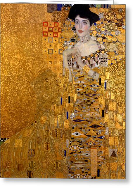 Woman In A Dress Greeting Cards - Adele Bloch Bauers Portrait Greeting Card by Gustive Klimt