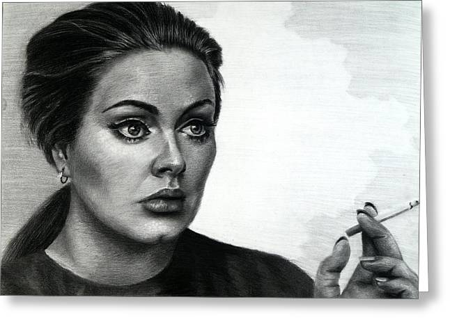 Celebrity Portrait Greeting Cards - Adele Greeting Card by Fithi Abraham