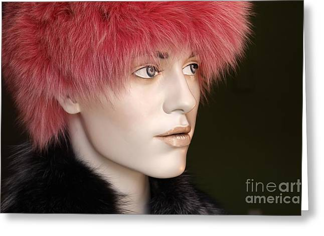 Fashionista Greeting Cards - Adele in Pink Fur Greeting Card by Sophie Vigneault