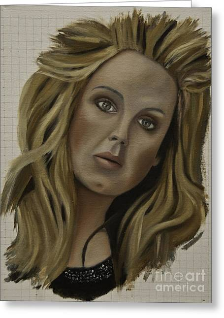 Adele Paintings Greeting Cards - Adele Greeting Card by James Lavott