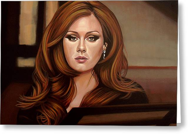 Adele Paintings Greeting Cards - Adele Greeting Card by Paul Meijering