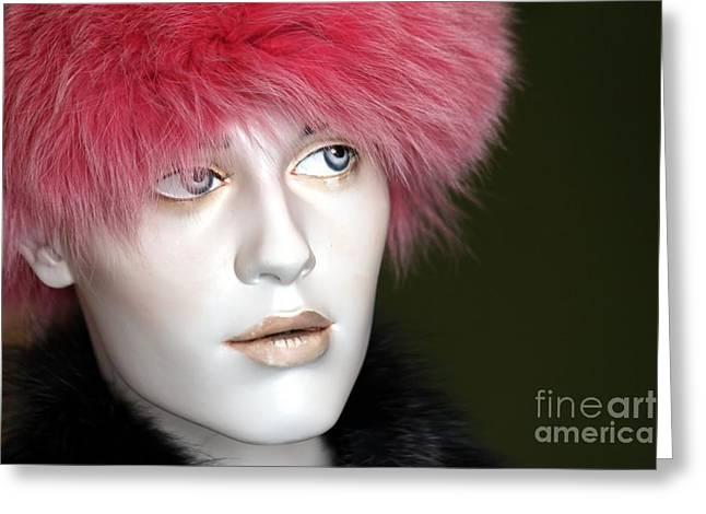 Pink Cheeks Greeting Cards - Adeles pink fur hat Greeting Card by Sophie Vigneault