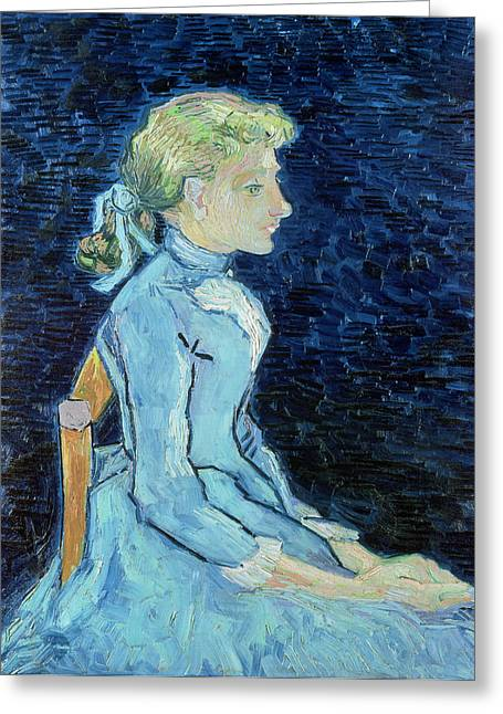 Girl Profile Greeting Cards - Adeline Ravoux, 1890 Oil On Canvas Greeting Card by Vincent van Gogh