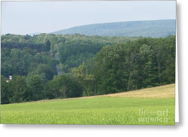 New York State; American Landscape; Rural; Countryside; New England; Church; Woodland; Trees; Hudson River School Greeting Cards - Aden Hill Greeting Card by Kevin Croitz