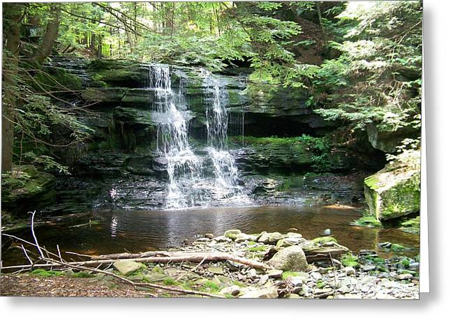 New York State; American Landscape; Rural; Countryside; New England; Church; Woodland; Trees; Hudson River School Greeting Cards - Aden Hill Waterfall Greeting Card by Kevin Croitz