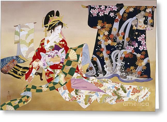 Japanese Ethnicity Greeting Cards - Adesugata Greeting Card by Haruyo Morita