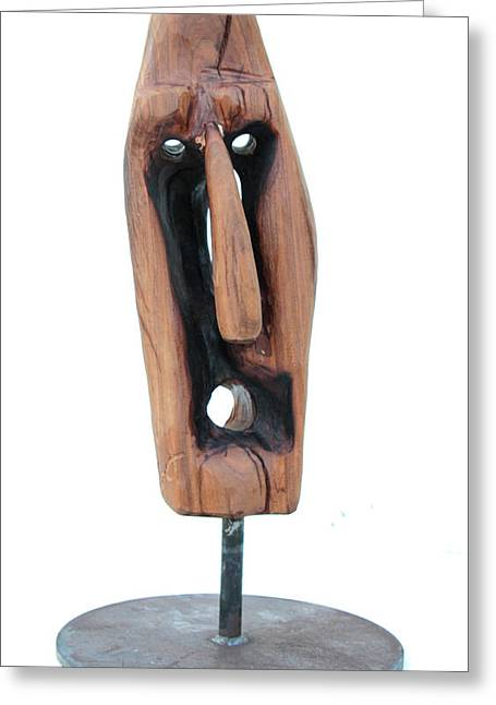 Wood Sculptures Greeting Cards - Adios 2 Greeting Card by Jorge Berlato