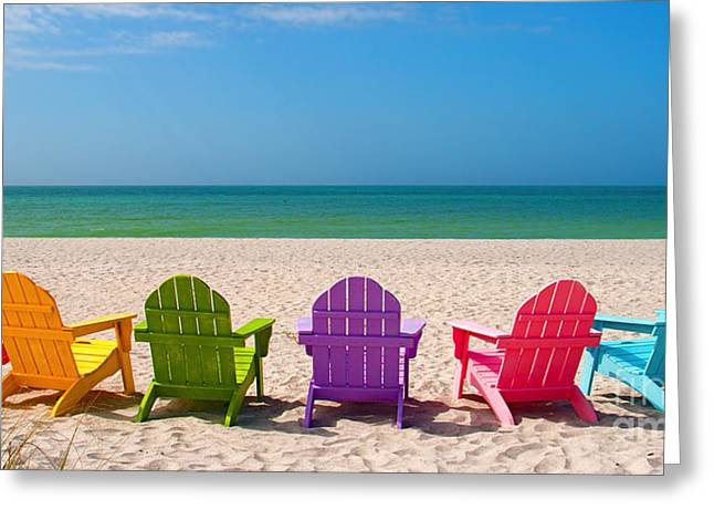 Relax Photographs Greeting Cards - Adirondack Beach Chairs for a Summer Vacation in the Shell Sand  Greeting Card by ELITE IMAGE photography By Chad McDermott