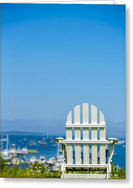 Adirondack Chair Greeting Cards - Adirondack Chair by the Sea Greeting Card by Diane Diederich