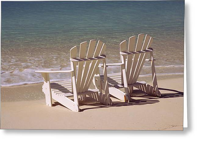 Empty Chairs Greeting Cards - Adirondack Chair On The Beach, Bahamas Greeting Card by Panoramic Images