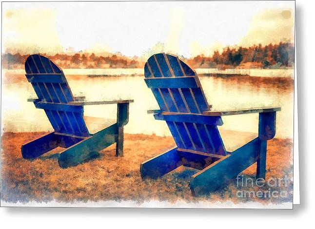 York Beach Greeting Cards - Adirondack Chairs by the Lake Greeting Card by Edward Fielding