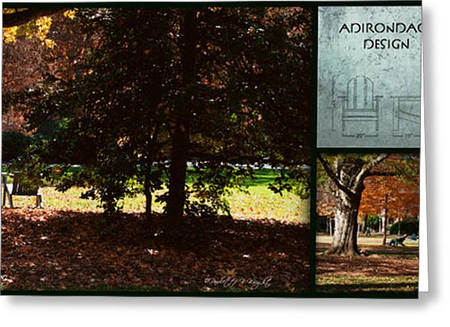Nature Study Greeting Cards - Adirondack Chairs Collage6 Greeting Card by Paulette B Wright