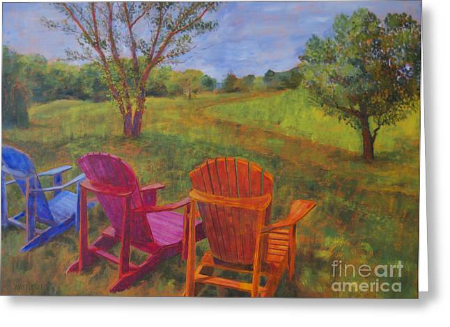 Leipers Fork Paintings Greeting Cards - Adirondack Chairs in Leipers Fork Greeting Card by Arthur Witulski
