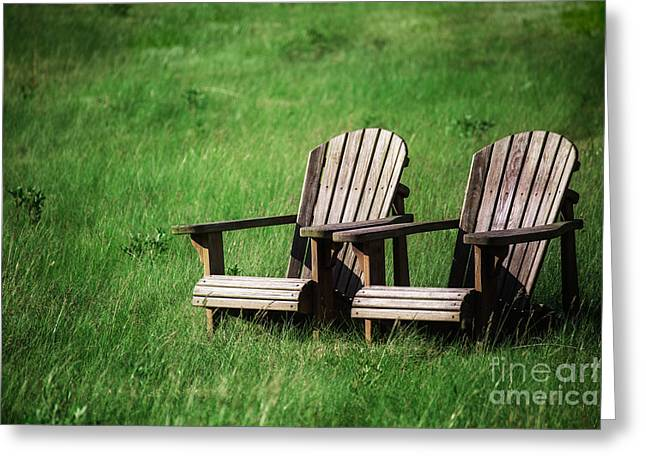 Empty Chairs Greeting Cards - Adirondack Chairs Greeting Card by Leslie Banks