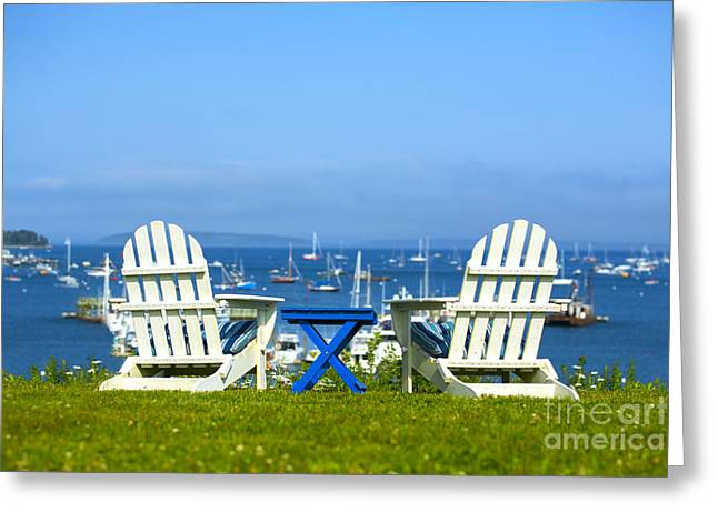 Sailboat Ocean Greeting Cards - Adirondack Chairs Overlooking the Ocean Greeting Card by Diane Diederich