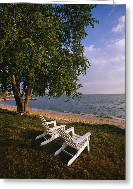 Deck Chairs Greeting Cards - Adirondack Chairs Greeting Card by Panoramic Images