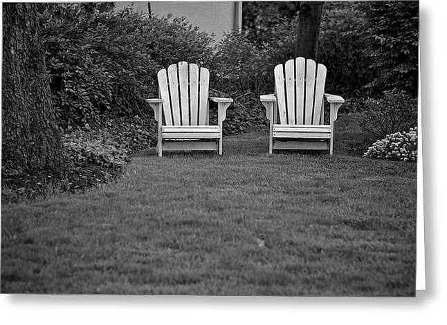 Lawn Chair Greeting Cards - Adirondack lawn chair monotone Greeting Card by Berkehaus Photography