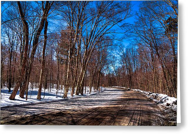 Snowy Field Greeting Cards - Adirondack Shadows on Rondaxe Road South Greeting Card by David Patterson